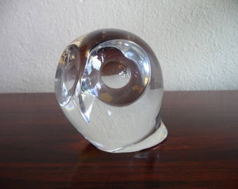 Mid Century Crystal Owl Paperweight in the Style of Maleras