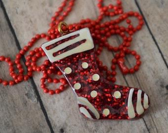 Christmas Stocking Necklace, Christmas Jewelry, Resin Stocking, Holiday Pendant, Christmas Pendant, Holiday Jewelry, Stocking Stuffer