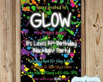 Glow In The Dark Party Invitation / Neon Birthday Invitation / Blacklight Party Invitation / Glow Party Invite DIGITAL FILE to PRINT