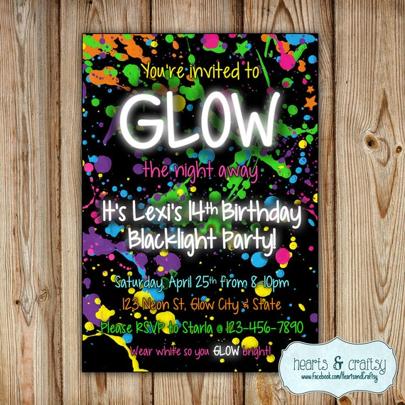 glow in the dark party invitation  neon birthday invitation, party invitations