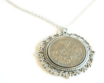 1967 Birthday Gift, Lucky Sixpence Necklace, 1967 Jewelry Gift, 50th Birthday Gift, 50th Birthday Ideas, 50th birthday gifts for women