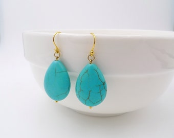 Turquoise Drop Earrings, Tear drop earrings, Gold and Turquoise