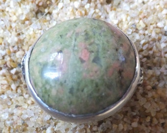 Unakite and Sterling Silver Ring..... size 5.5 only