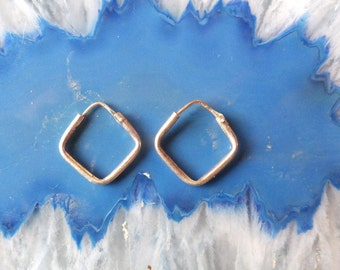Sterling Silver Hoop Earrings Square Shape Vintage Stash
