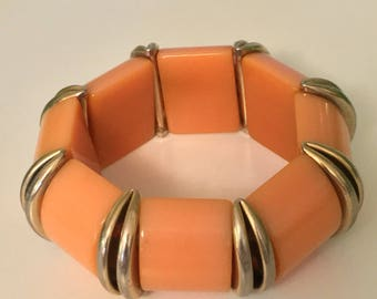 Vintage Bakelite Stretch Bracelet Goldtone Spacers, Tangerine, Original Strong Elastic