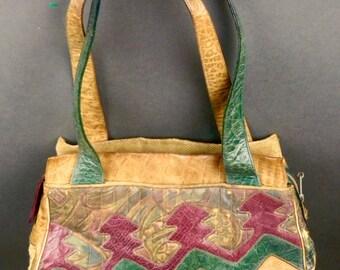 Vintage SHARIF PATCHWORK Leather HANDBAG Satchel Shoulder Bag Purse Made New York