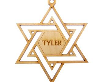 Star of David Ornament, With Name - Hanukkah Decoration - Hanukkah Ornaments - Personalized Hanukkah Gift ideas - Hanukkah Ornament