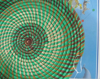 Hand Woven Wild Grass Basket Guatamalan Art Basketry Collectible Mayan Art Form