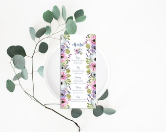 Printable Wedding Menu - Wedding Menu Card - Wedding Menu - Menu Card - Printable Menu - Floral Wedding Menu - Botanical Menu - Romantic