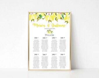 Printable Wedding seating chart - Wedding seating chart poster- A2 size - Table seating plan - Lemons seating chart - Rustic Botanical