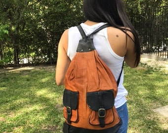 Backpack bag, large, leather backpack, Bikers Bag ,brown leather ,black,back pack