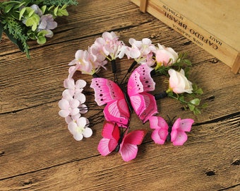 13 hair pins and clips set gift box headpiece pink pastel sharp magenta butterfly flower