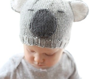 Koala Hat Baby KNITTING PATTERN - baby koala, knit koala hat pattern for babies, infants - sizes 0-3 months, 6 months, 12 months, 2T+