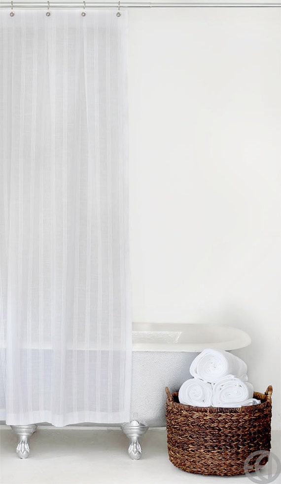 Extra Long White Stripe Fabric Shower Curtain