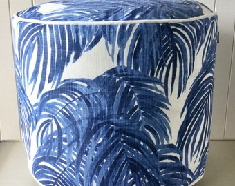 SALE Blue & white Swaying Tropical Palm Leaf Ottoman/Floor Cushion/ Pouf  Cover Beach House - Coastal  + Piping