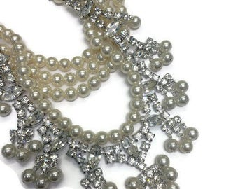 Vintage Faux Pearl and Rhinestone Necklace, Multi Strand Statement Necklace, Bib Necklace, Wedding Bridal Jewelry, Costume Jewelry