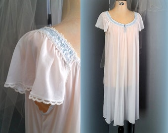 70s Delft Blue & White Nightgown - Sheer Vintage Nightgown - Tea Length - Size LARGE / XL