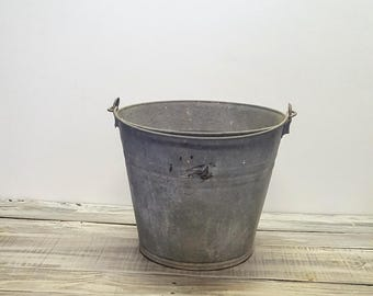 Galvanized Metal Bucket | Rustic Metal Bucket | Metal Farm Bucket | Water Pail | Galvanized Metal Pail