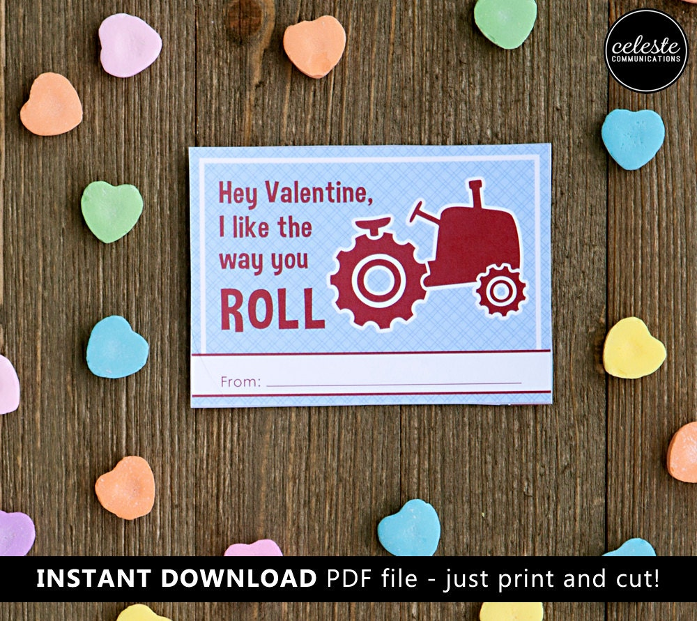 Tractor Valentine Cards : Printable tractor valentine card for kids instant download