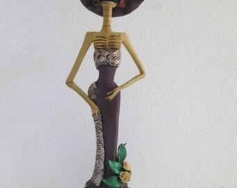 "BEAUTIFUL CATRINA handmade figure day of the dead mexican dia de muertos  12"""