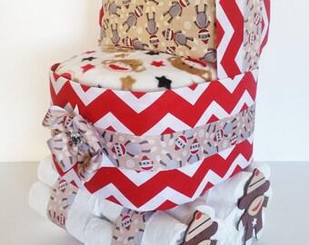 sock monkey diaper cake sock monkey baby shower centerpiece diaper stroller diaper bassinet