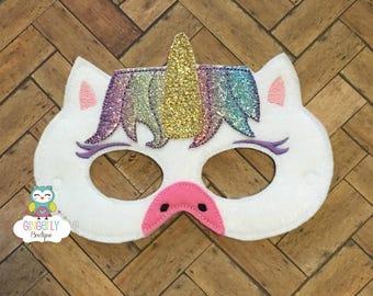Unicorn Mask, Kids Dress Up Mask, Unicorn Costume Mask, Wool Blend Mask, Felt Unicorn Mask, Unicorn Party Favor, Unicorn Mask
