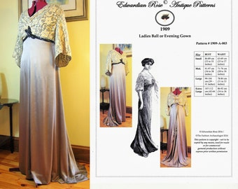 Digital Sewing Pattern~Ladies' 1909 Edwardian Titanic Grand Ball/Evening Gown (in PDF to print at home) Pattern #1909-A-003