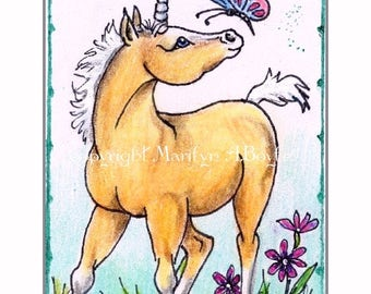 ORIGINAL ACEO - FANTASY; free shipping, unicorn pony, butterfly, flowers, pen and ink drawing, pencil crayon, sparkly pens, washi tape,