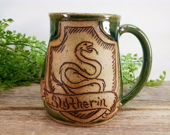 Slytherin Mug - 16 oz Dark Green Wheel Thrown Hand Carved Coffee Cup