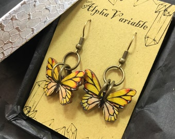 Wooden Butterfly Earrings- Steampunk Jewelry - Apocalyptic Steampunk Gypsy Boho Jewelry - Cosplay - FAST Shipping FREE Gift Wrap!