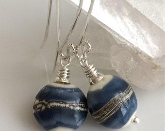 Denim Blue Glass Earrings / Lampwork Glass Earrings / Blue and Ivory Earrings / Sterling Silver Earrings