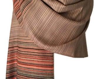 Brown Orange Striped Pashmina Wrap, Oversized Scarf, Ladies Stripey Wrap, Large Winter Shawl