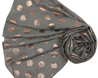 Grey Scarf with Rosegold tone Spotted Print, Ladies Polka Dot Wrap Shawl, Gray Scarf