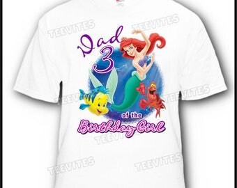 Dad of the Birthday Girl Little Mermaid Ariel Flounder and Sebastian Disney T-Shirt