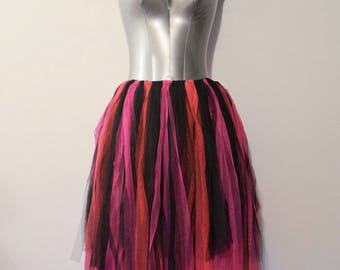 Black and Pink Soft Tulle Fairy Skirt