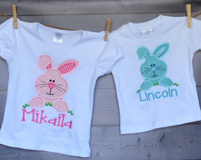Featured listing image: Personalized Easter Bunny Applique Shirt or Onesie Girl or Boy