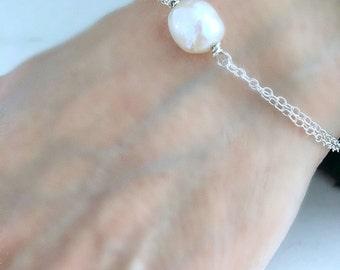 925 sterling silver Pearl Bracelet freshwater Pearl bracelet Anklet Pearl Jewelry 2 pearls Beach Wedding bridesmaid gifts bracelet or anklet