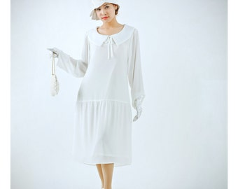 Ivory Great Gatsby dress with puritan collar and long sleeves, 1920s flapper dress, 1920s wedding, white Gatsby dress, Downton Abbey dress