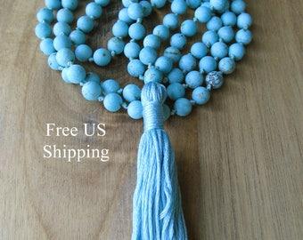Matte Turquoise Mala Beads, 108 Bead Mala, Turquoise Magnesiite, Tassel Necklace, Yoga Jewelry, Prayer Beads, Japa Mala, Meditation Beads