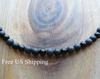 Men's Choker Necklace, Matte Black Onyx & Lava,  Mens Necklace,  Beaded Necklace, Men's Necklace, Long Necklace, Gift for Men, Men's Jewelry