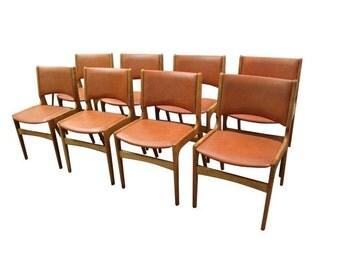 Set of 8 Mid Century Danish Modern Teak Vinyl Side/Dining Chairs