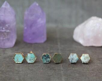 Hexagon stone earrings