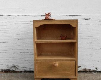 Rustic Dollhouse Cupboard - Miniature Wood Hutch