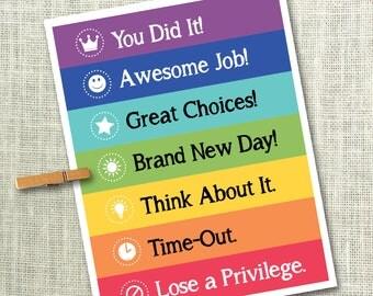 Behavior Chart, DIY Behavior Chart, Printable Behavior Chart, Toddler Behavior Sign, Rewards Chart, Rainbow Chart, Instant Download