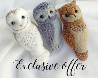 EXCLUSIVE OFFER 25% DISCOUNT - Set of Three Handmade Owl Brooches, Embroidered Felt Owl Brooches with Discount, Gift for Owl Lovers