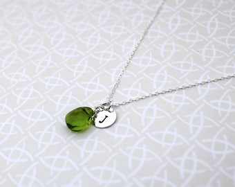 Green necklace, initial necklace, birthstone necklace, sterling silver, personalised jewellery, peridot necklace, silver necklace, August