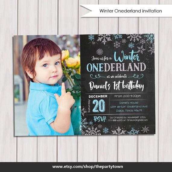 First Birthday Party Invitation Boy Chalkboard: WINTER ONEDERLAND Invitation Chalkboard Photo, Boy Winter