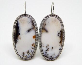 Dendritic agate earrings, Agate gemstone cabochon earrings, dendritic opal earrings, dendritic quartz earrings, oval gemstone earrings
