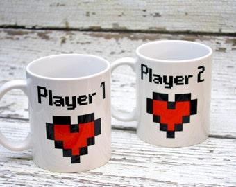 Player 1 and 2 couple coffee mugs - 11oz set of two