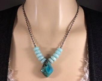Chrysocolla Pendant-Peruvian Amazonite-Oxidized Sterling Chain-Adjustable 17 to 20 inches-Boho-Minimalist-Healing Necklace
